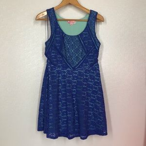Candie's Floral Lace Blue/Teal Stretch Dress